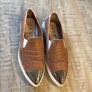 Miu Miu metal cap toe sneaker in pink velvet Sz 37